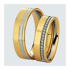 Verighete din aur alb cu aur galben si briliante. Cu interiorul bombat, pentru un confort maxim la purtare. Bangles, Bracelets, Saints, Gold, Wedding Rings, Engagement Rings, Jewelry, Enagement Rings, Jewlery