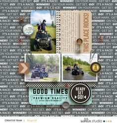 4 Wheeling Good Times digital scrapbook page using Project Mouse (Cars) by Britt-ish Designs and Sahlin Studio