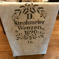 Antique printed German linen grain sacks, the advertising of farmers and tradesmen back in the good ol' days! Cared for, which gives them even more charm. Linen Upholstery Fabric, Grain Sack, Ol Days, Sacks, Good Ol, Antique Prints, Chair Covers, Farmers, Hand Sewing