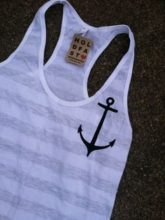 SALE Anchors Away women's striped racerback by holdfastprintworks, $15.00