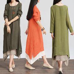 Women Boho Casual Loose Cotton Linen Plus Size Summer Shirt Long Maxi Dress New Long Sleeve Maxi, Short Sleeve Dresses, Dress Vestidos, Maxi Robes, Plus Size Maxi Dresses, Loose Dresses, Dress Long, Mode Hijab, Blouse Dress