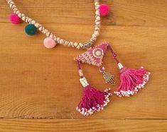 pink textile triangle necklace, hamsa tassel and pompom necklace Scarf Jewelry, Fabric Jewelry, Jewelry Art, Handmade Art, Handmade Jewelry, Unique Jewelry, Handmade Gifts, Triangle Necklace, Tribal Necklace