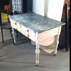 Vintage baking table with zinc top and drawers for flour beneath. LOVE!