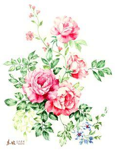 红花绿叶手绘花束
