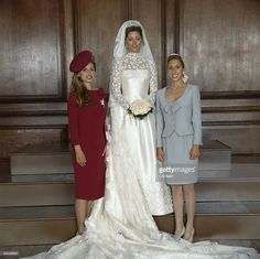 The new Crown Princess Marie-Chantal of the Hellenes with her sisters (left) Pia Getty and (right) Miss Alexandra Miller (soon to be Alexandra von Furstenberg) at Hampton Court Palace on 1st July 1995. Formerly Marie-Chantal Miller, the bride has just married Crown Prince Pavlos of Greece.