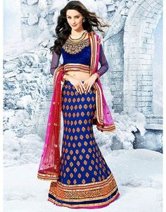 Blue Georgette Lehenga Choli with Embroidery Work