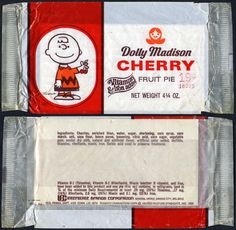Dolly Madison - Cherry Fruit Pie 19-cent wrapper package featuring Charlie Brown - 1970's #DollyMadison #Peanuts