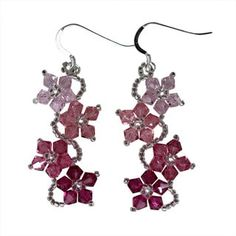 Handmade Sterling Silver Colorful Crystal Flower Earrings (USA) | Overstock.com Shopping - The Best Deals on Sterling Silver Earrings