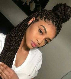 Box braids are a fun, pretty, and practical protective style. This guide will help you figure out how many packs of hair for box braids you'll need & much more. # african Braids frisuren Box Braids Guide: How Many Packs of Hair for Box Braids? Black Girl Braids, Girls Braids, Braids For Black Women Box, Braids For Black Hair, Curly Hair Styles, Natural Hair Styles, Hair Braiding Styles Black, Natural Braids, Pelo Afro