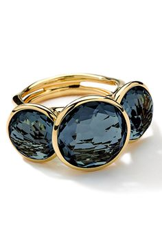 Ippolita 18K Gold Lollipop 3-Stone Ring, London Blue Topaz, $2,495, available at Neiman Marcus