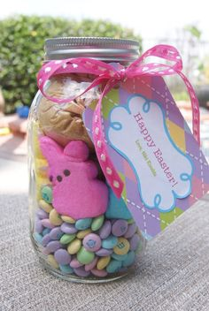 For my girls: To make these Bunny brownies in a jar, you will need the following ingredients: (For Each Jar) 1 quart size Mason Jar 1 sleeve graham crackers, reduced to crumbs 6-8 marshmallow Peep Bunnies 1 1/4 cup Easter M's 1/3 cup brown sugar