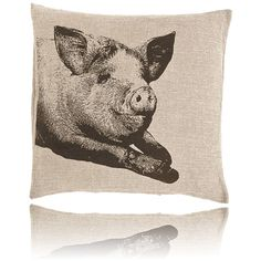 Thos. Baker Pig Pillow (22x22) ($65) ❤ liked on Polyvore featuring home, home decor, throw pillows, handmade home decor, canvas home decor and animal throw pillows