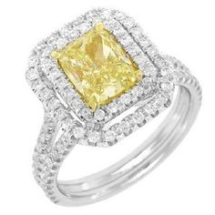 1.73CT-CTR(CUSHION-FY/VS1) 0.90CT-SIDE 14K2T FANCY YELLOW DIAMOND RING  Price : $22,152.00 http://www.blountjewels.com/1-73CT-CTR-CUSHION-FY-0-90CT-SIDE-YELLOW-DIAMOND/dp/B009MRE6F2