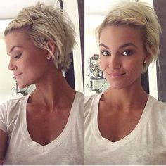 LOVE the CUT BACK MOSTLY THE PIECESNESS OF THE BACK  WOULD WANT LONGER IN FRONT + SIDES #shorthairstylespixie