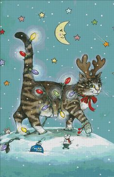 Holiday Spirit, chat décoré -  [PATTERSON106] - $15.00 : Heaven And Earth Designs, cross stitch…