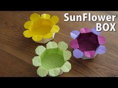 【超かんたん!】折り紙2枚でつくる、ひまわりの箱。ORIGAMI-Sunflower Box - YouTube