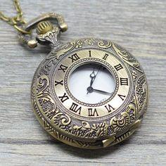 Vintage  Rome Number Carved Pocket  Watch Necklace  Pendant  Antique Bronze