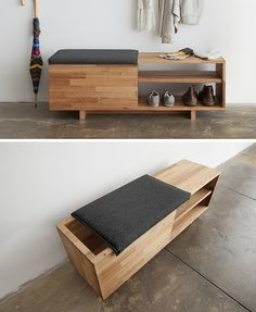 Best Modern Entryway Ideas With Bench Entryway ideas for small. - strawberry - Best Modern Entryway Ideas With Bench Entryway ideas for small spaces that will k - Furniture Projects, Home Projects, Home Furniture, Furniture Design, Smart Furniture, Diy Furniture Modern, Diy Furniture For Small Spaces, Multipurpose Furniture, Multifunctional Furniture