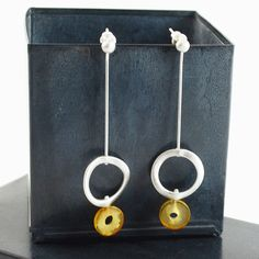 Organic silver and amber drop earrings