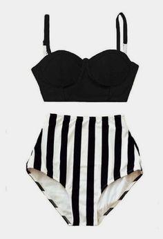 Black Midkini Underwire Top and Stripe Striped High Waisted Waist Bottom Swimsuit Bikini Twopiece Swim suit wear Swimwear Beachwear S M L XL by venderstore on Etsy Summer Bathing Suits, Girls Bathing Suits, Swimwear Fashion, Bikini Fashion, Bikini Babes, Sexy Bikini, Vs Bikini, Bikini Beach, Mode Outfits