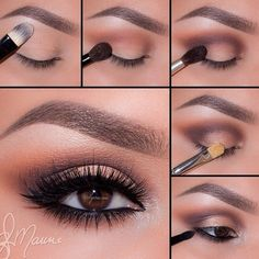 "Dark smokey brown eyes History of eye makeup ""Eye care"", put simply, ""eye make-up"" has Eyeshadow Brown Eyes, Smokey Eyes, Makeup For Brown Eyes, Smokey Eye Makeup, Eyeshadow Makeup, Eyeshadow Palette, Brown Eyeshadow Tutorial, Makeup Brushes, Metallic Eyeshadow"