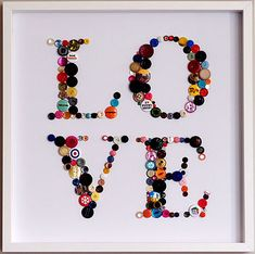 Framed 'Love' Button Artwork