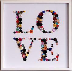 Framed 'Love' Button Artwork