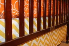 Yellow Chevron Straight Crib Skirt by DesignsbyChristyS on Etsy, $70.00