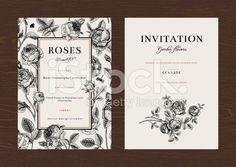 Floral vector vertical vintage invitation. royalty-free stock vector art
