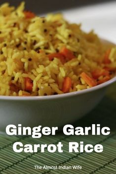 Simple Ginger Garlic Carrot Rice Recipe- Bring the taste of India to your very own kitchen with this simple homemade recipe. Chinese Vegetables, Mixed Vegetables, Ginger Rice Recipe, Carrot Recipes, Meat Recipes, Drink Recipes, Rice Dishes, Main Dishes, Recipes