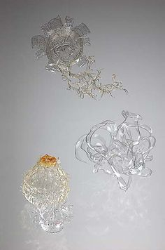 Miwa Koizumi creations: melted and re-worked plastic bottles.