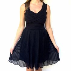 """Black dress Adorable little black dress, perfect for any occasion • pleated bodice and skirt • fully lined • zipper closure in the back • 16"""" from armpit to armpit, 34"""" from shoulder down • size 4 on the tag, fits XS/S • brand new with tags BB Dakota Dresses"""