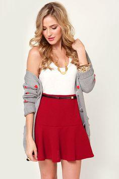 Cute Flared Skirt - Red Skirt - Mini Skirt