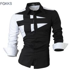 buy on wallmart.win FGKKS 2017 New Long Sleeve Slim Men Dress Shirt Brand New Fashion Designer High Quality Solid Male Clothing Fit…