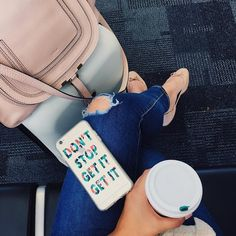 After a 4 hour delay two breakfasts three coffees (don't judge) we are heading to NYC! Shop my so cozy travel outfit here:  http://liketk.it/2oWYB @liketoknow.it #liketkit #travelstyle #coffeenclothes #ootd #travel