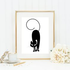 SALE Cat Art Print Cat Poster Typography Print by GogaPrintables