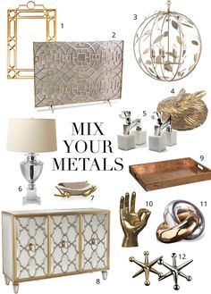 How to mix metals in interior design. Mixed metals ideas. Get on the hottest 2016 trend!