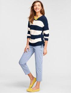 Lace-Side Block Stripe Sweater - Talbots