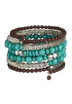 Turquoise bead coil bracelet
