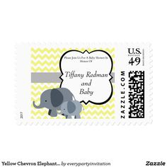 Yellow Chevron Elephant Baby Shower Postage Stamp