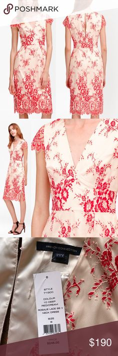"French Connection Rosalie Tea Dress From Ladies Day to weddings, invest in a dress that's made for every occasion. Look no further than our delicate Rosalie Lace Tea Dress to take you anywhere and everywhere. Intricate floral embroidery & scalloped trimming details this fitted frock for added feminine sensibility. Deep V-neck Sheer,short sleeves Fixed waistband Side splits at hem Scalloped trimming at neck, sleeves & hem Knee-skimming length Shorter-length under slip at lining. 18"" underarm…"