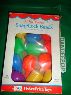 2ee973835f1 Vintage Fisher Price Crib   Playpen Snap Lock Beads  667 13 piece Toy set  1977 find me at www.dandeepop.com