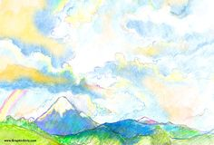 Watercolor Pencil artwork of Mount Shasta Under a Rainbow Sky by Julia Stege