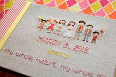 cross stitch wedding party guest book (photo by izzy hudgins, book by french knot weddings)