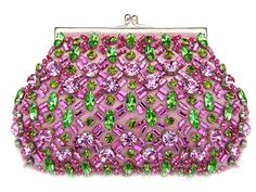 Moyna pink and green swarovski crystal beaded silk evening bag