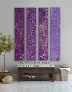 Midnight sky Abstract painting - 4 panel CUSTOM AcryliCrete Wall Art, abstract home decor,- Purple, violet, lavender, wine, mauve,blue