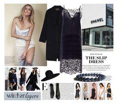 """Winter Layers: Slip Dress"" by zenstore ❤ liked on Polyvore featuring moda, Donna Karan, Maison Michel, Thakoon, Very Volatile, women's clothing, women's fashion, women, female y woman"