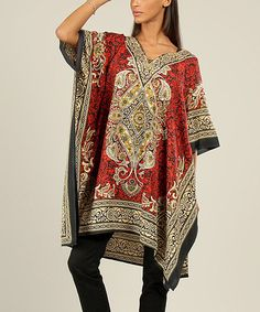 Take a look at this Red Mehndi Tunic - Women on zulily today!