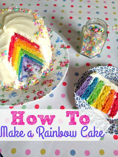 A super easy tutorial to make a stunning and delicious Six Layer Rainbow Cake! Perfect for childrens (and big kids!) birthday parties, it's made with a failproof Victoria Sponge mixture and cream cheese frosting. (make birthday cake cream cheeses) Cake With Cream Cheese, Cream Cheese Frosting, Cream Cheeses, Rainbow Baby, Rainbow Cakes, Rainbow Birthday, 4th Birthday, Rainbow Sweets, Rainbow Snacks