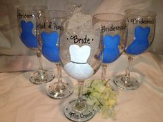 Wedding Glasses, Hand Painted, Bridesmaid Glass, Maid of Honor, Will You Be My Bridesmaid, Party Favor, Wedding Party Gifts